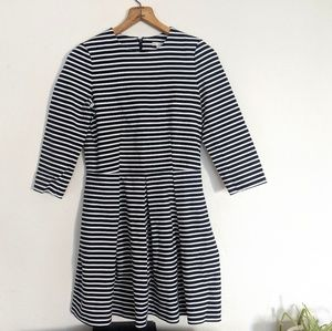 GAP Striped 3/4 Sleeve Fit and Flare Dress